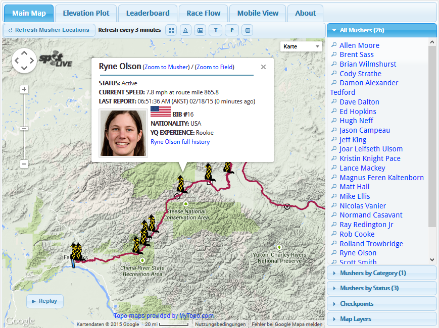 Yukon Quest - Live Tracking