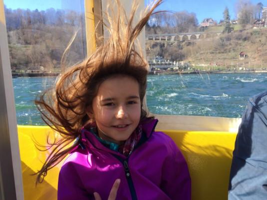 Beim Rheinfall stehen mir die Haare zu Berge