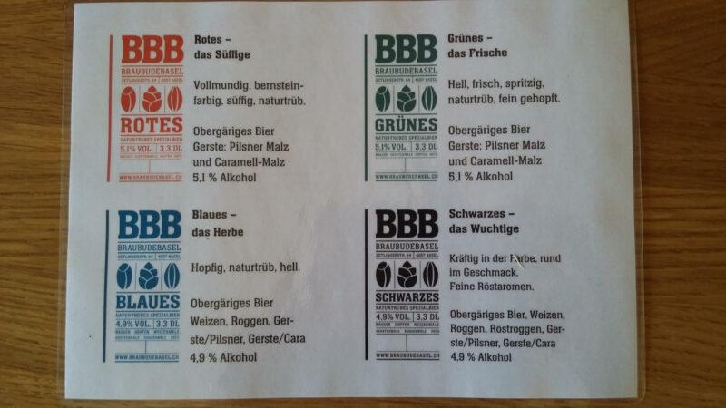 Bierkarte Birreria Basel