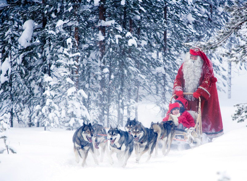 Weihnachtsmann Husky Schlittenhunde Winter Finnland Huskyfarm