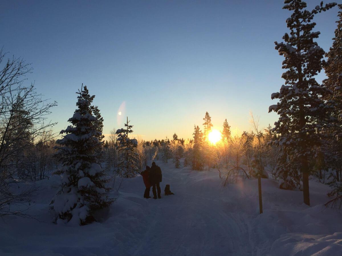 lappland-schweden-winter schnee landschaft morgenstimmung sonnenaufgang