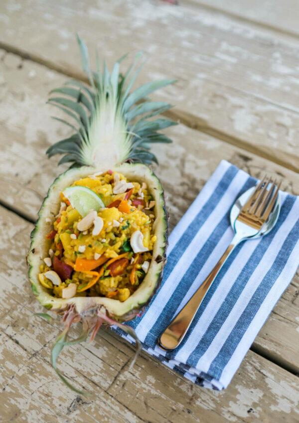 gebratener reis ananas zwei pfannen rezept camper kochen easy