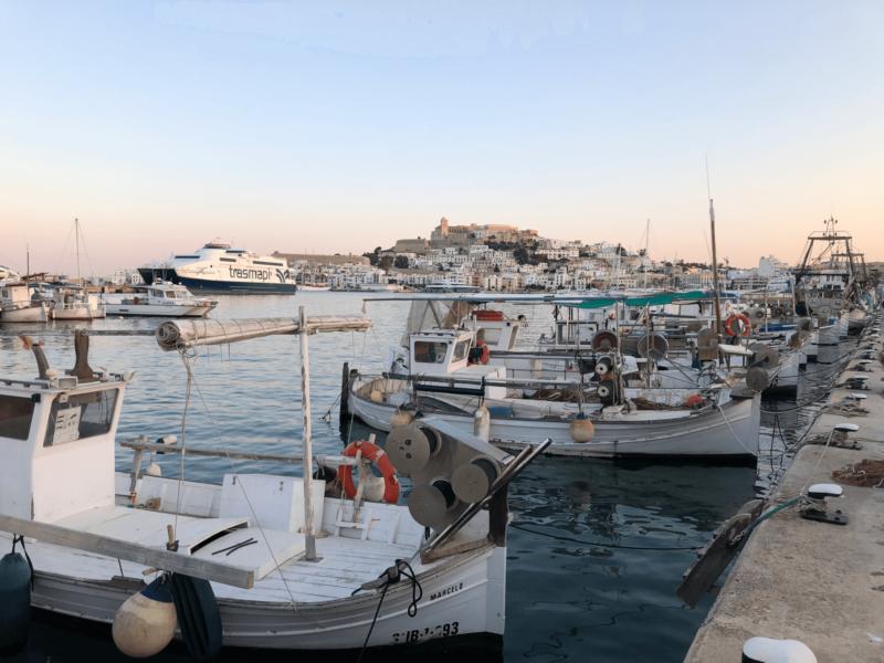Fischerboote im Hafen von Eivissa, im Hintergrund die Altstadt mit Festung.